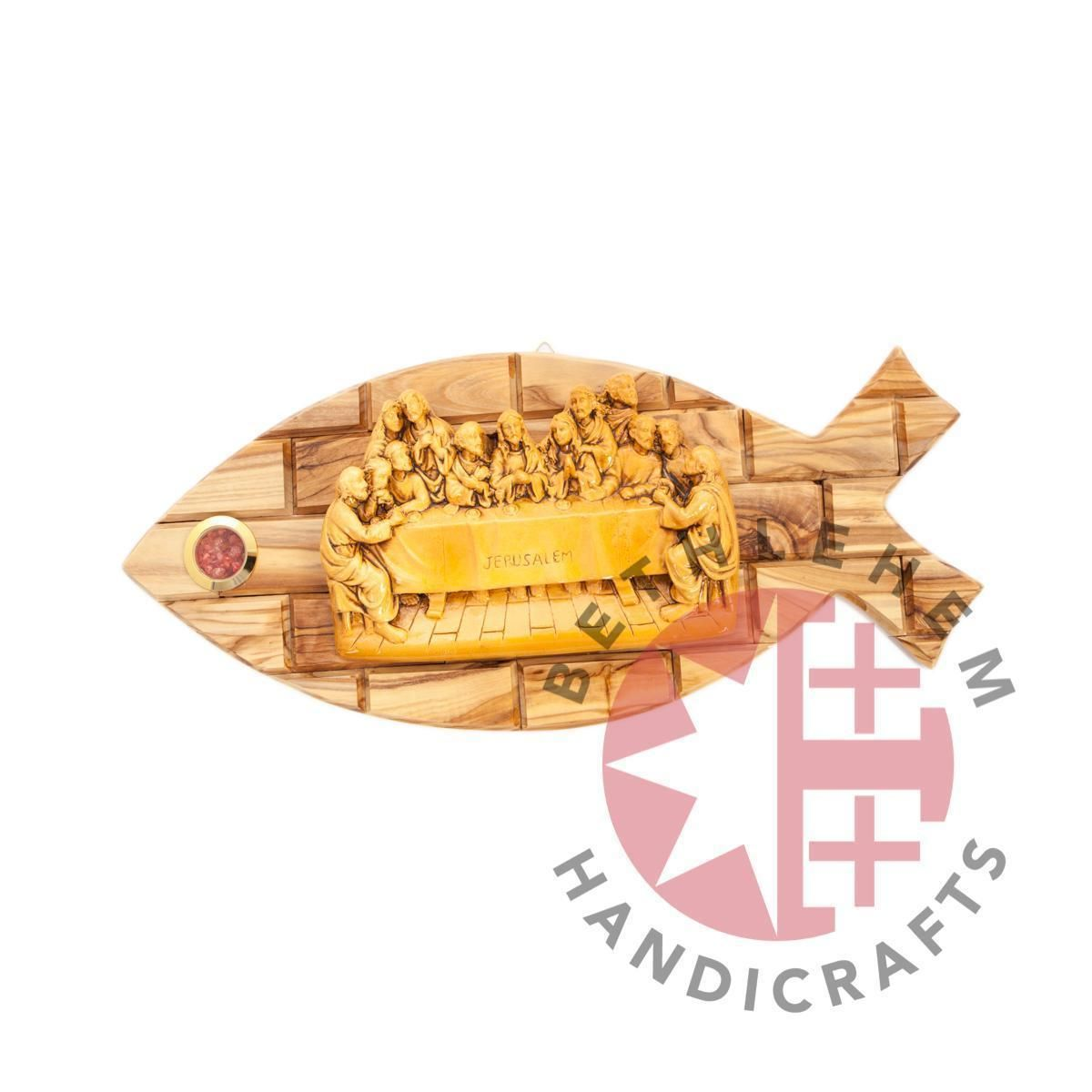 Ichthus Olive Wood Last Supper Wall Hanging Plaque with Holy Incense ...