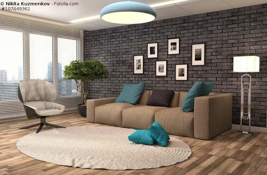 Sofa Braun Wohnzimmer Mit Steinwand Farbgestaltung