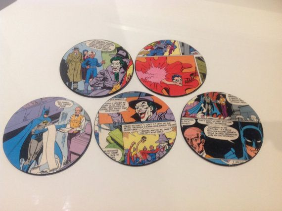 Comic Coasters featuring Batman and The Joker by ComicKamikaze
