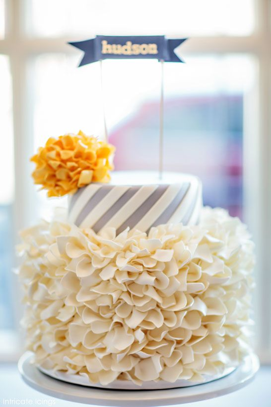 love this cake inspired by striped party straws and pom poms!  |  by Intricate Icings