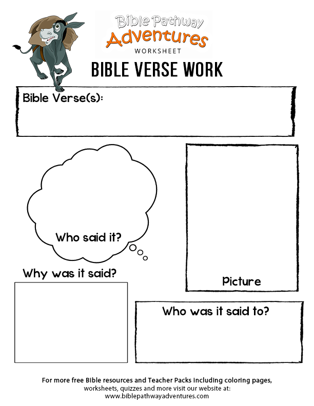 Free Bible Worksheet Bible Verse Work is part of Kids Crafts Canvas Sunday School - Enjoy our free Bible worksheet Bible Verse Work  Fun for kids to print and learn more about the Bible  Feel free to share with others, too!