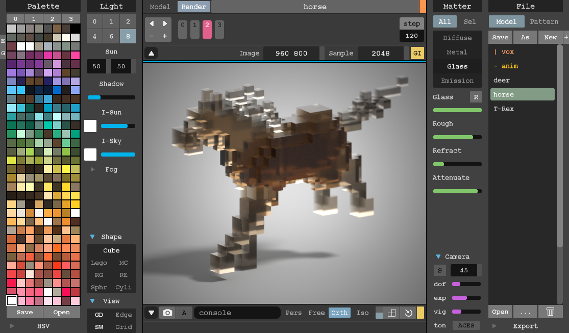 A free lightweight 8bit voxel editor and interactive path