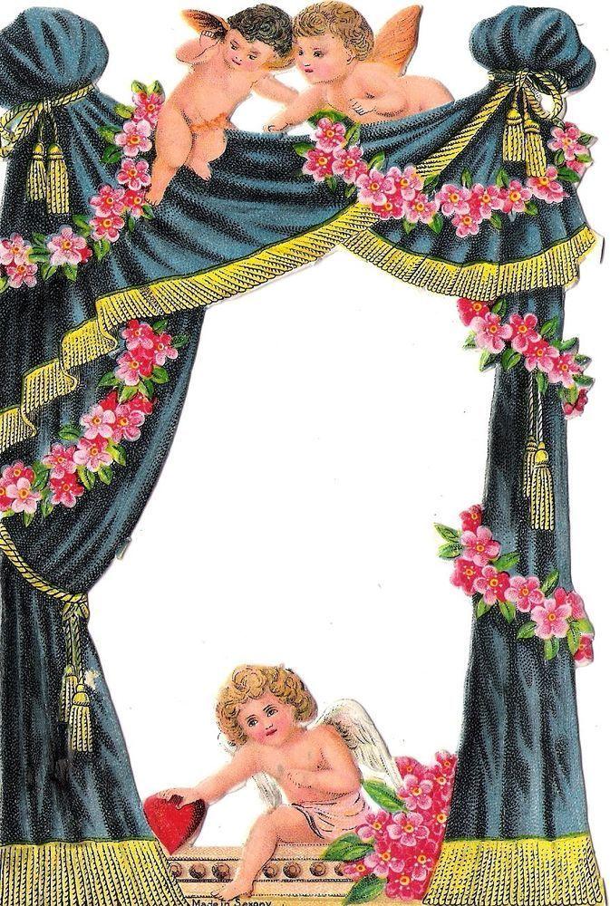 Oblaten Glanzbild scrap diecut chromo Engel angel 16,6cm ange Amor cherub cupid: