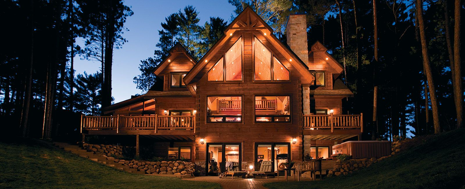 Custom, handcrafted log home, timber home, or hybrid home built from ...