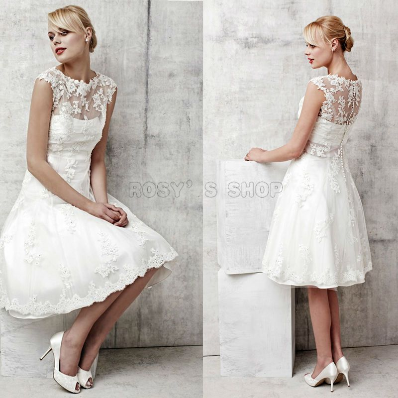 New Arrival Boat Neck Sash Knee Length Short Sleeve 50 S Vintage Lace Wedding Dress