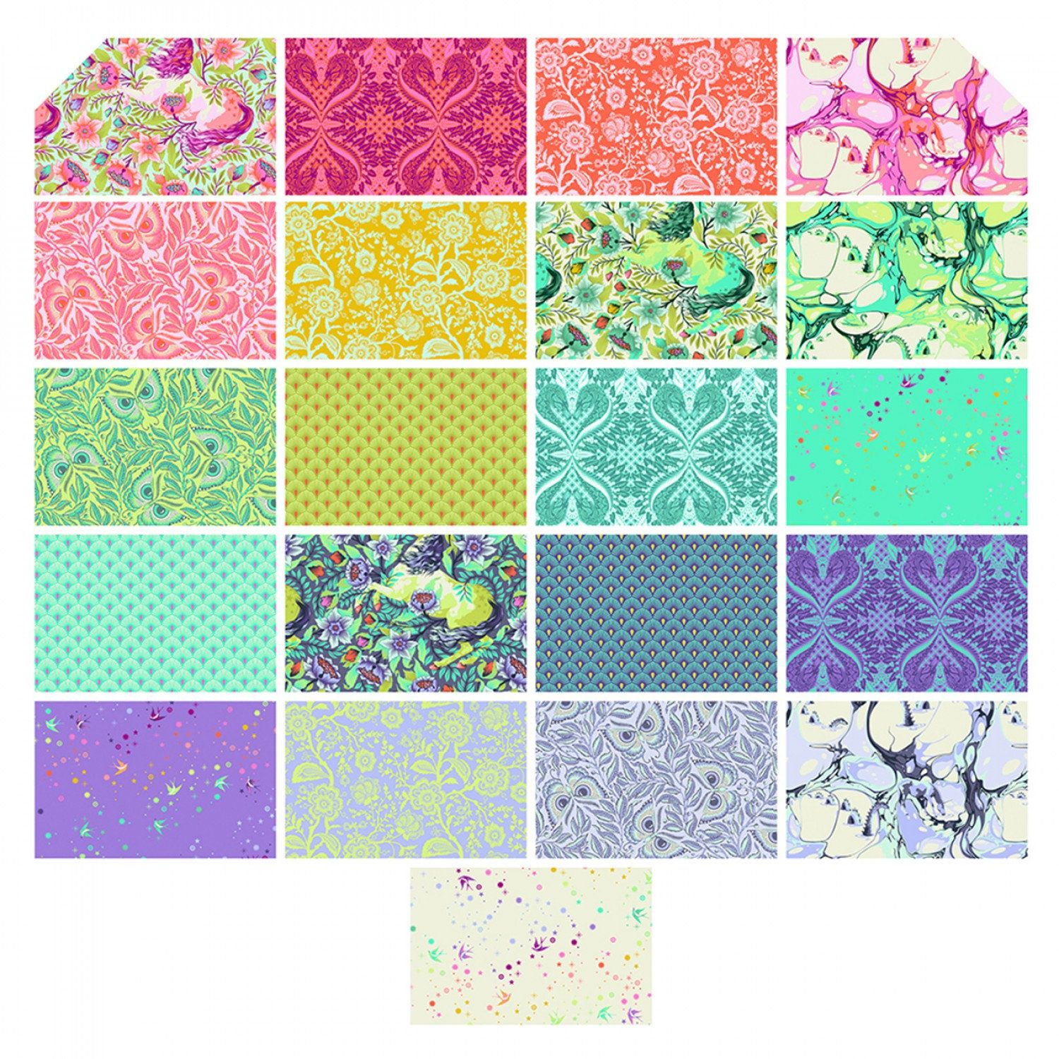 Daisy Delight 4 Fabric Squares Charm Pack 100/% cotton 40 pieces