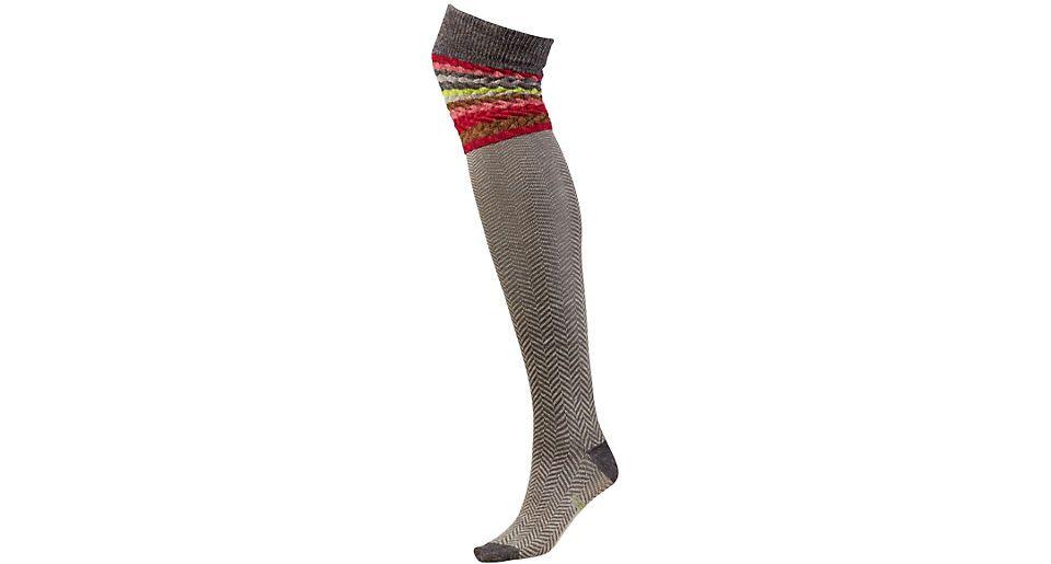 Striped Chevron Sock in Taupe Heather