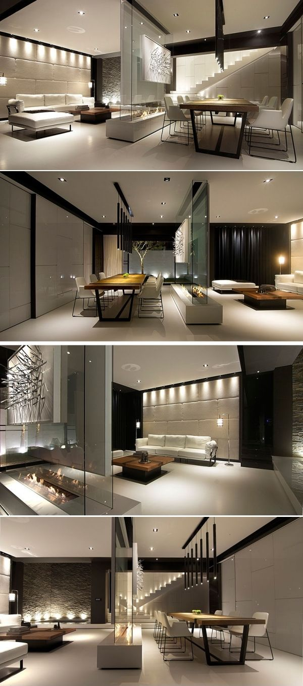 Room divider idea  this glass wall supports  tv an art piece and has fireplace in between contemporist also rh pinterest