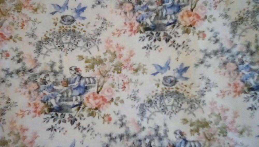 BonEful Fabric FQ Cotton Quilt VTG Pink Flower White Daisy Calico Ticking Stripe
