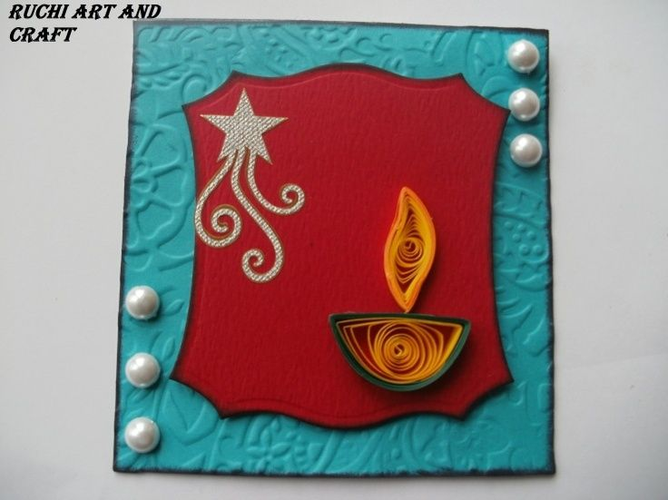 Lovely Diwali Greeting Card Making Ideas Part - 5: DIWALI CARD - Indian Craft Room