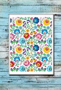 Poster - plakat metalowy  400x300 mm  Nadruk kwiaty łowickie