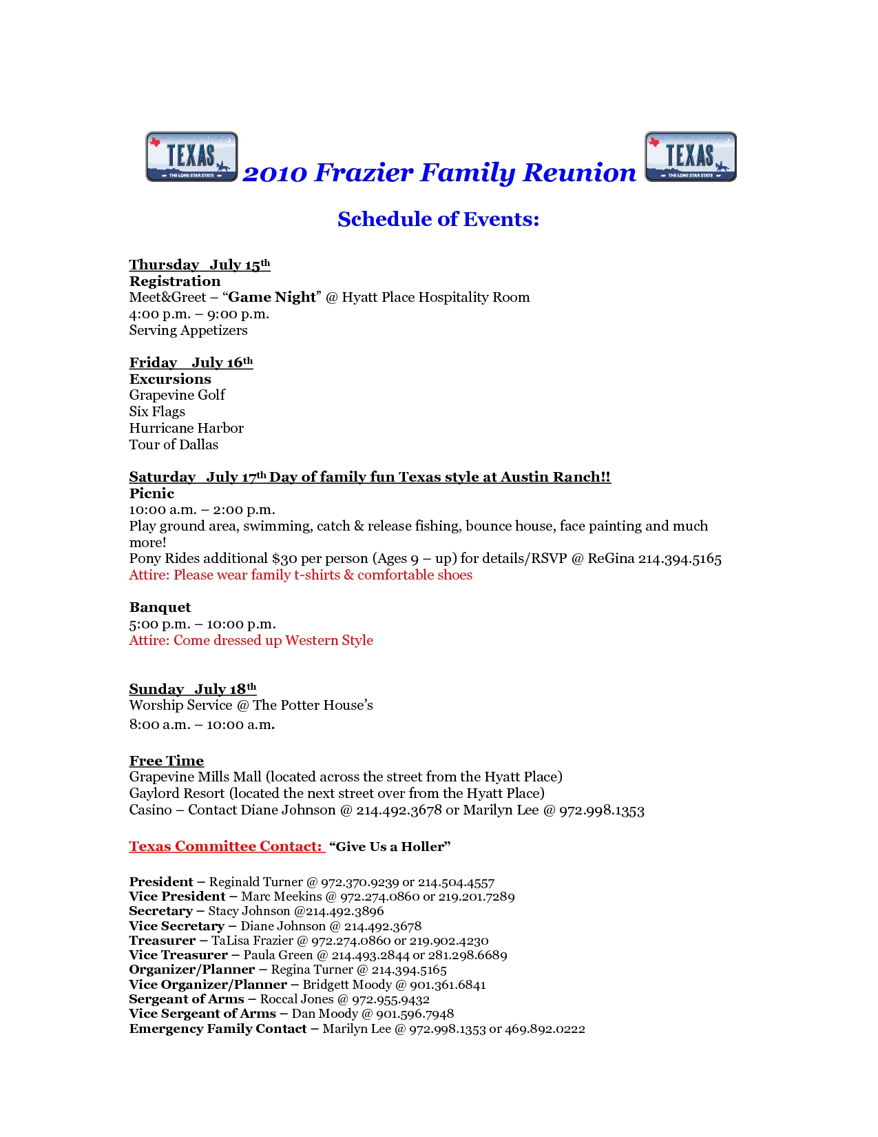 Free Printable Family Reunion Letters | 2010 Frazier Family Reunion Weekend  Itinerary  Free Printable Family Reunion Templates