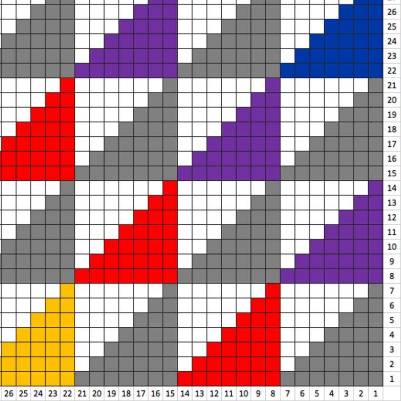 C2C afghan C2C graph C2C blanket C2C pattern C2C crochet Corner to corner Rainbow triangles Triangles crochet Crochet blanket