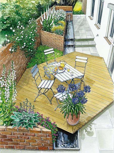 Romantischer gartenhof dise o de espacios las terrazas for Diseno de jardines pdf