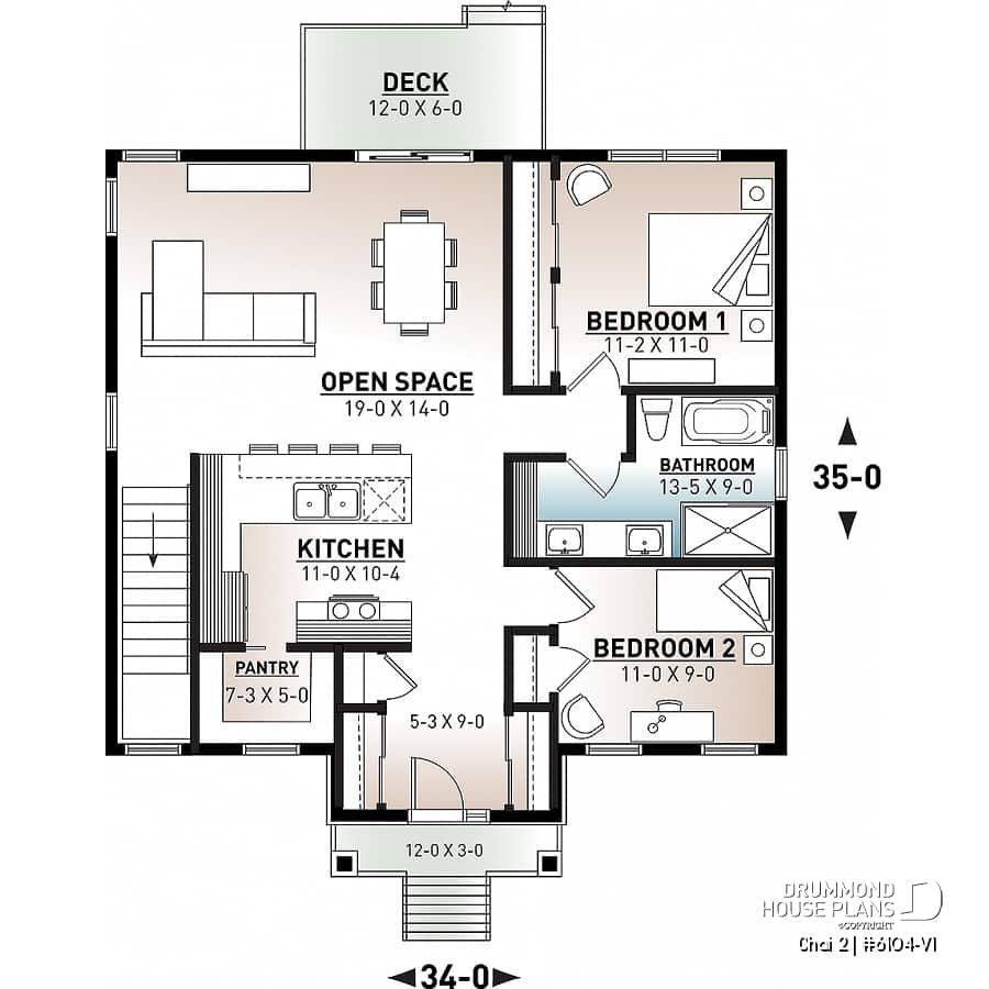 Discover The Plan 6104 V1 Chai 2 Which Will Please You For Its 2 Bedrooms And For Its Craftsman Northwest Styles In 2020 Open Floor House Plans Bedroom House Plans House Plans