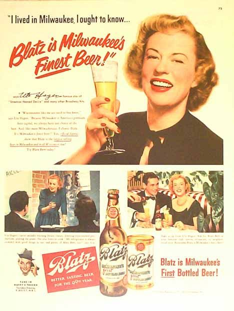 Bamboo Trading: Blatz 1950 Beer Ad - Uta Hagan - Star of Street Car ...
