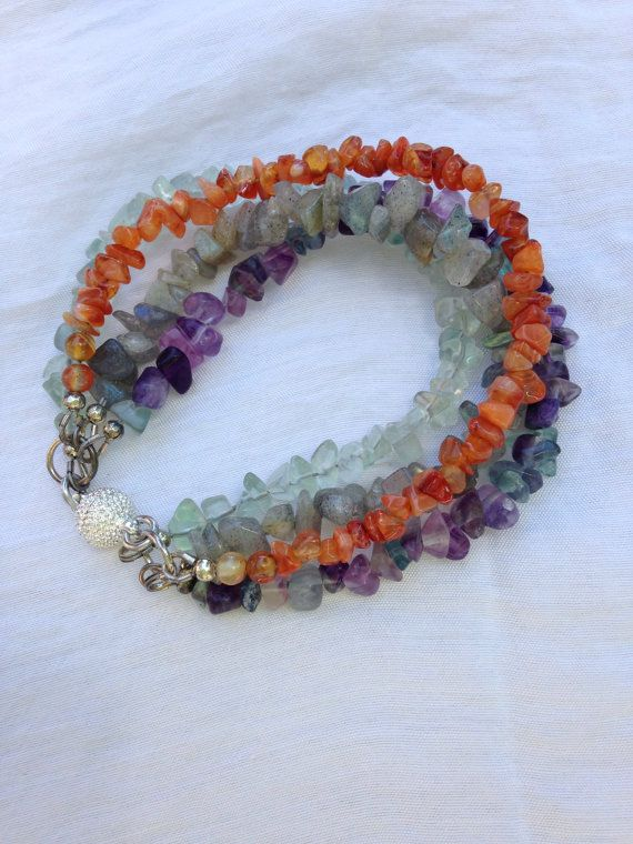 Natural Gemstone Chips Multi strand Bracelet on Etsy, $35.00