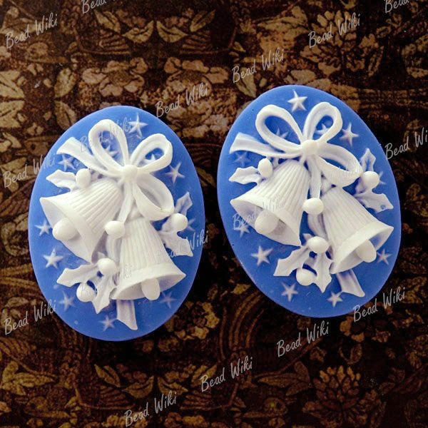 2pcs White Resin Oval Vintage Flatback Jingle Bell Cameo Cabochon Beads RB0598-2