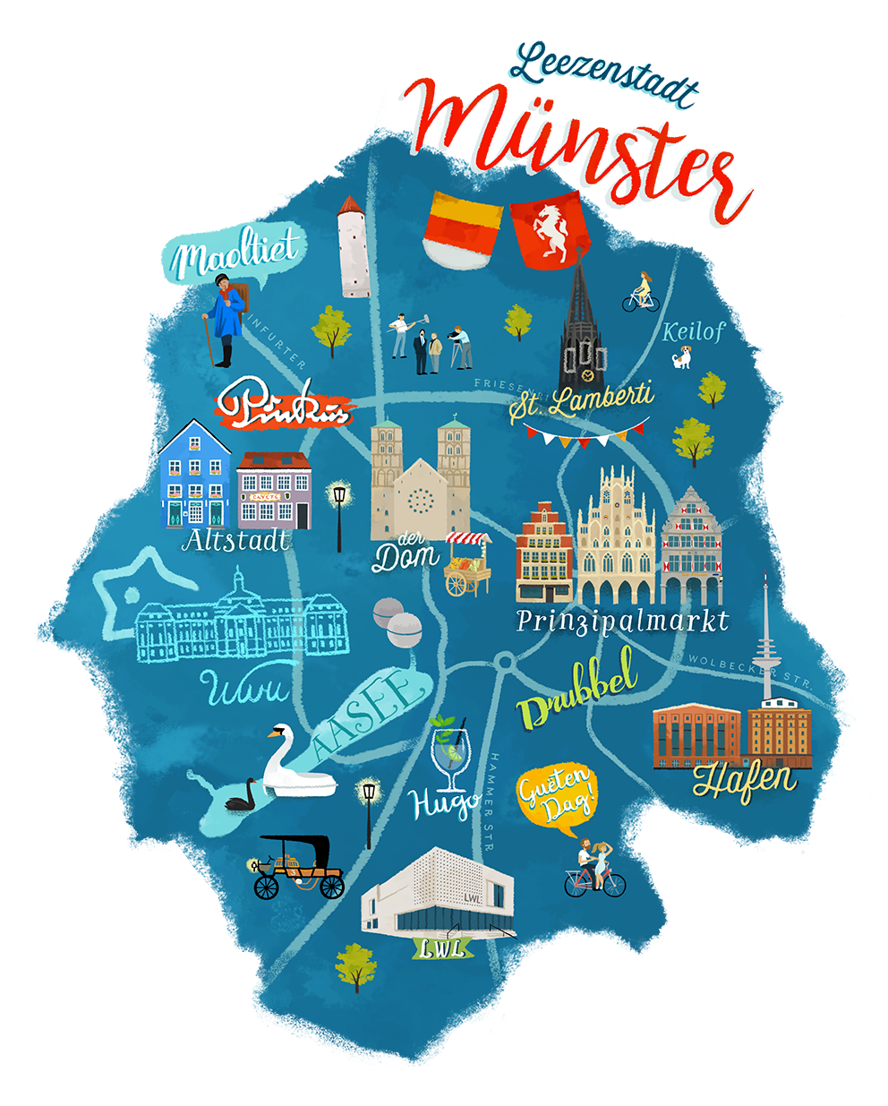 Illustrated Map of Mnster in Germany by Frida Bandida Be Chi