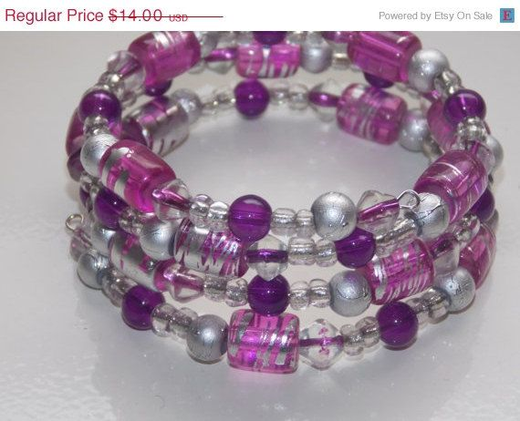 ON SALE Pink Violet Wrap Bracelet by EriniJewel on Etsy, $9.80