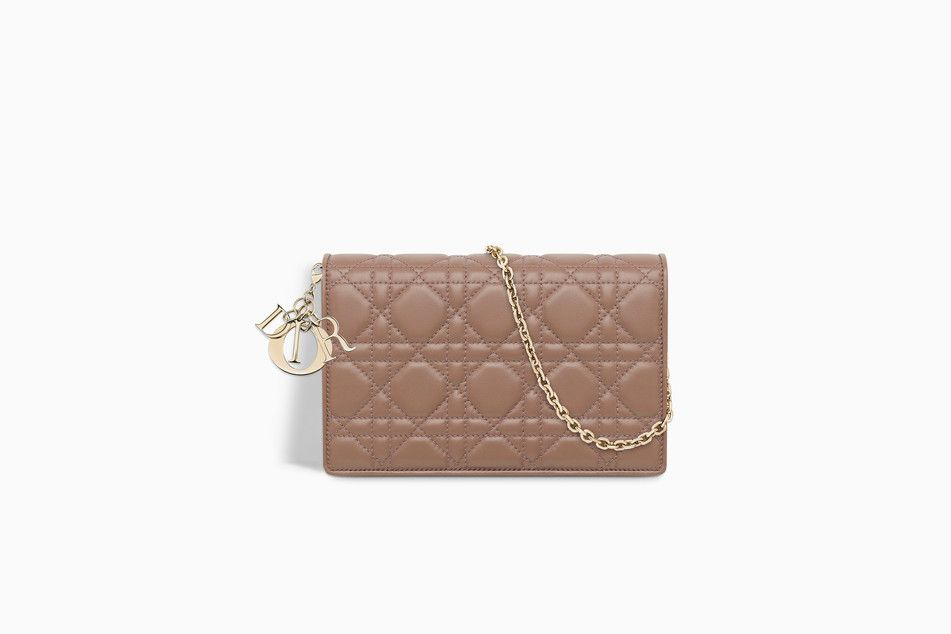 bf1efce26e LADY DIOR WALLET ON CHAIN POUCH IN PINK CANNAGE LAMBSKIN - Lady Dior Dior