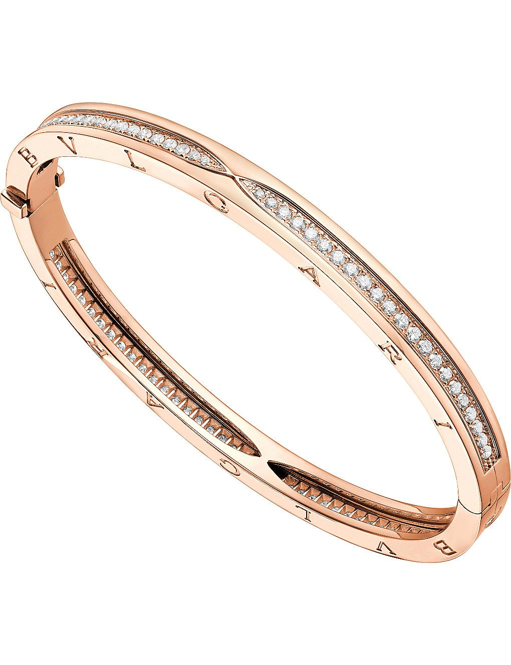 c0f729750 BVLGARI B.zero1 18kt pink-gold and pavé diamond bangle bracelet in ...