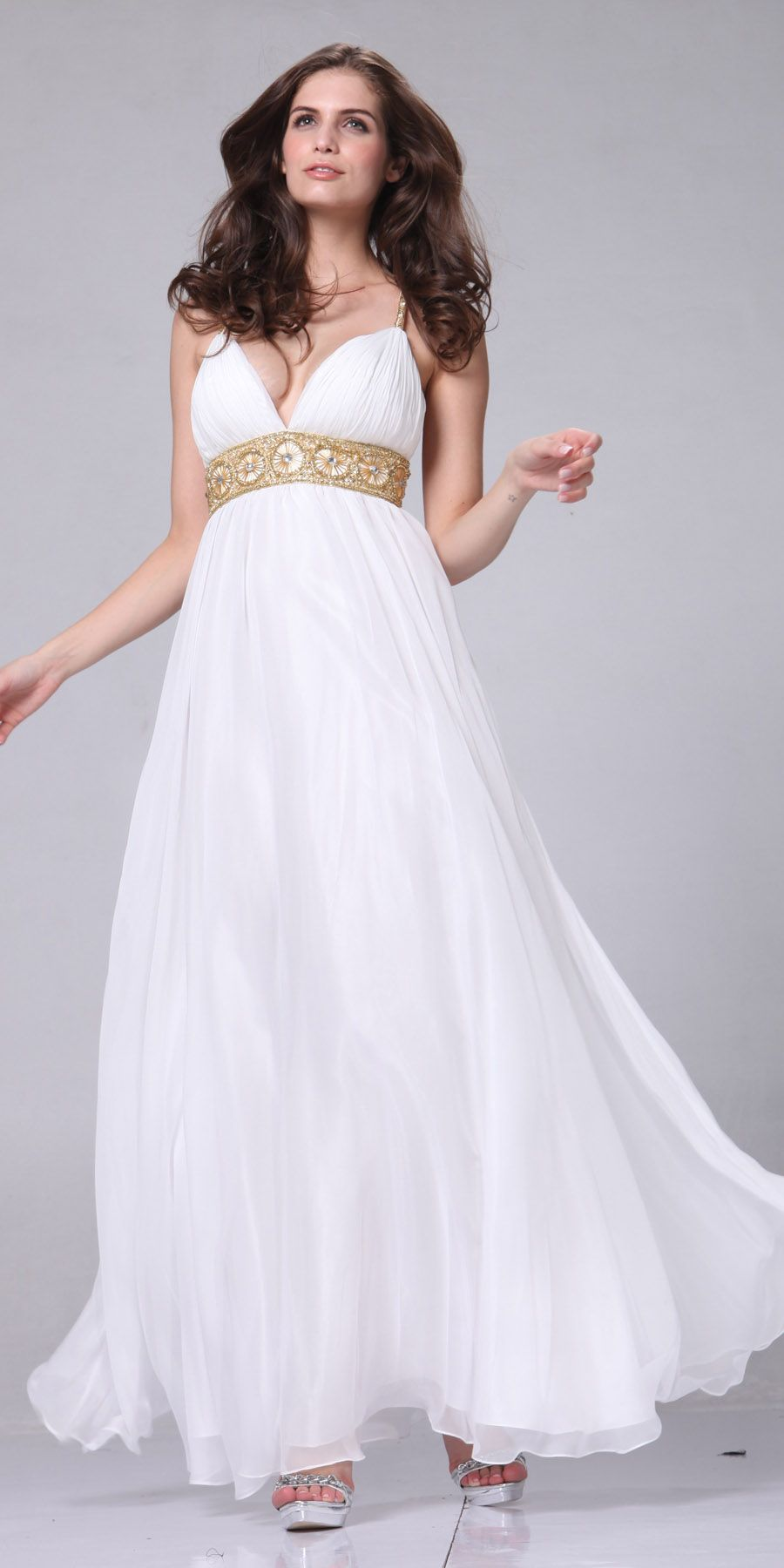 white chiffon dress with train greek style