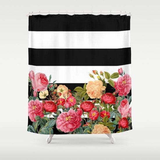 Black and White Stripe with floral Shower Curtain   Chic Designer Decor    bold retro roses  bathroom  modern home  decorArtistically Designed Shower curtain is 100  polyester  . Pink And White Striped Shower Curtain. Home Design Ideas