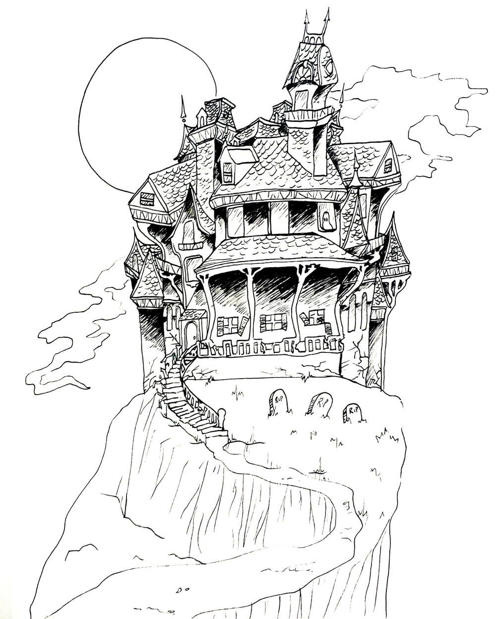 Haunted House Coloring Page House Colouring Pages Haunted House Drawing Halloween Coloring