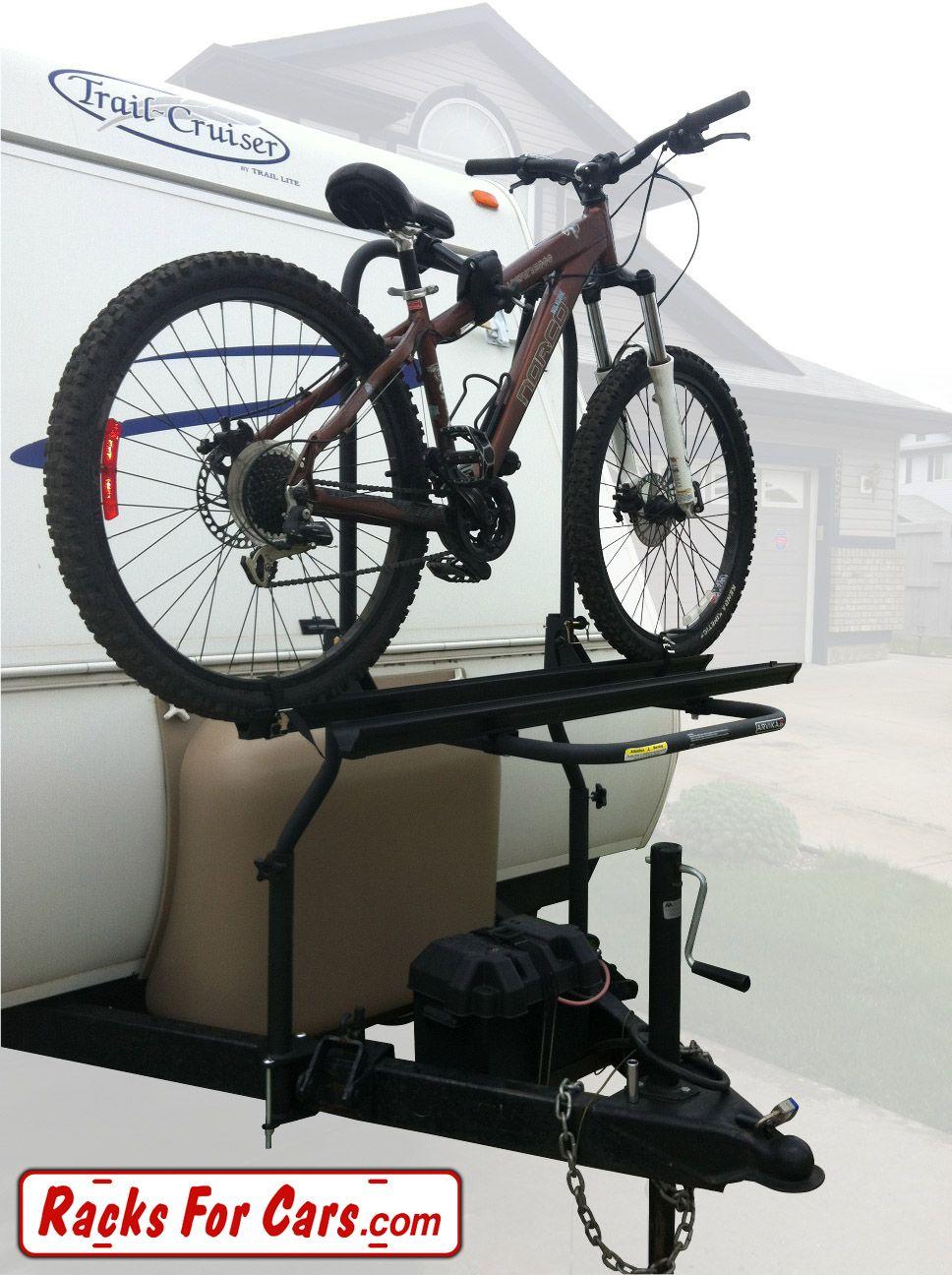 Arvika 2 Bike Rack On Travel Trailer With Bike Loaded Left View Rv Bike Rack Bike Rack Bike
