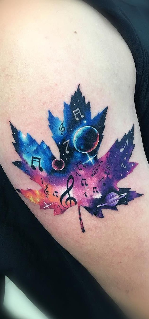 Photo of Stunning Watercolor Tattoos by Adrian Bascur – Cosmic Leaf Tattoo © …
