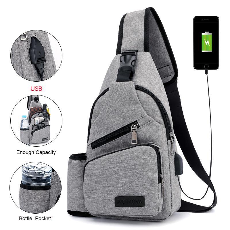 Men s Anti Theft Crossbody Bag USB PU Charging Shoulder Bag Camping Chest Waist