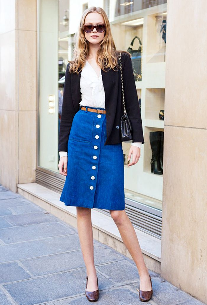 White blouse, button-down denim skirt, and square-toe flats