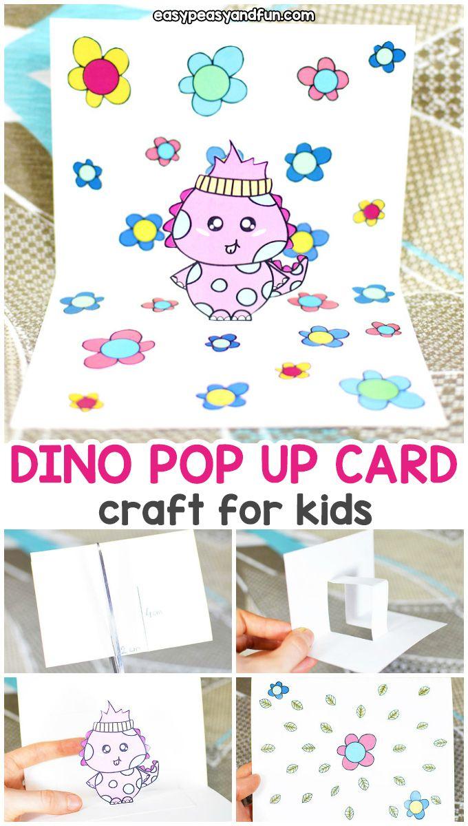 Dino Pop Up Card in 2020   Babysitting crafts, Pop up card ...