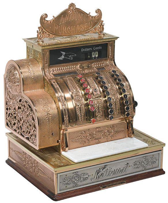 1909 Brass National Cash Register Vintage Collectibles