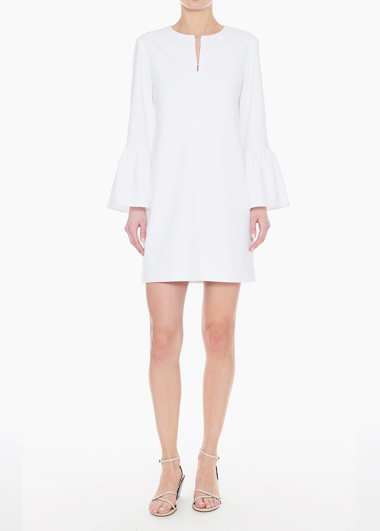 222ad2d3d2848c Lyst - Tibi Structured Crepe Ruffle Sleeve Shift Dress in White - Save  49.87341772151899%