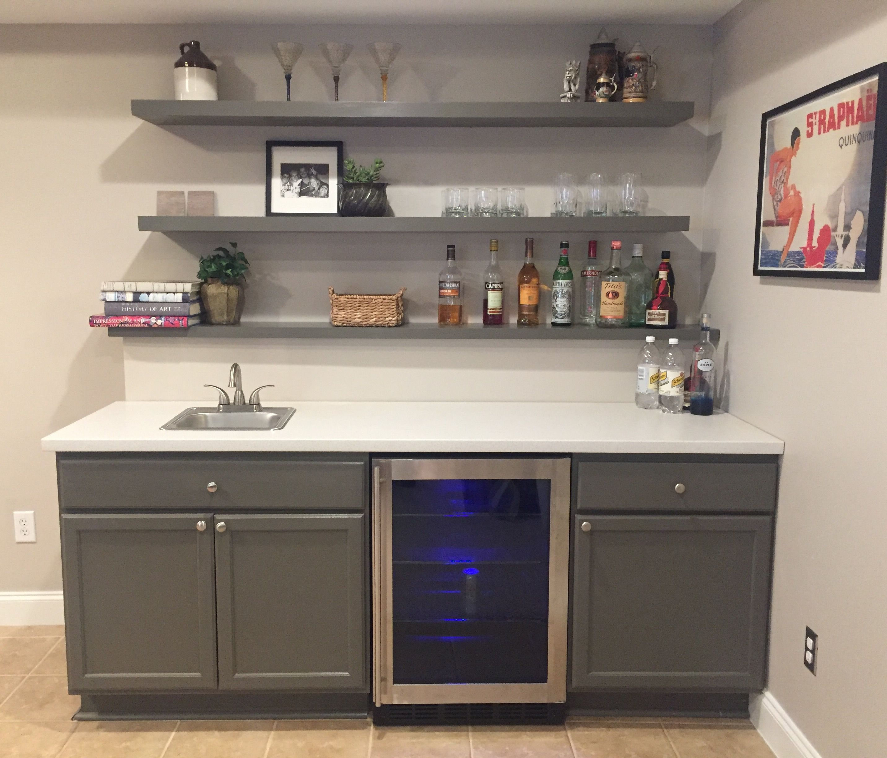 Finally Finished Basement Bar Unfinished Cabinets Ikea Countertop And Ikea Floating Shelves