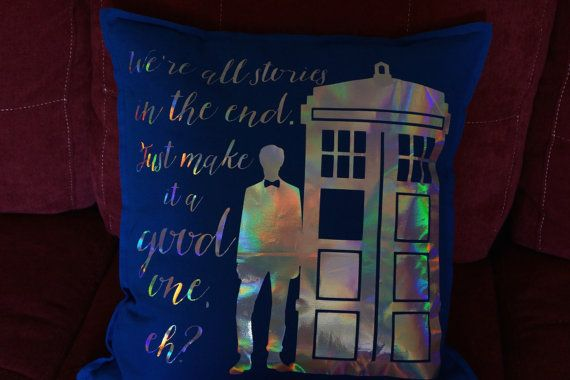 Doctor Who Inspired Throw Pillow Cover // We're All Stories In The End // Eleventh Doctor // Home Decor // Housewarming Gift // Wedding Gift