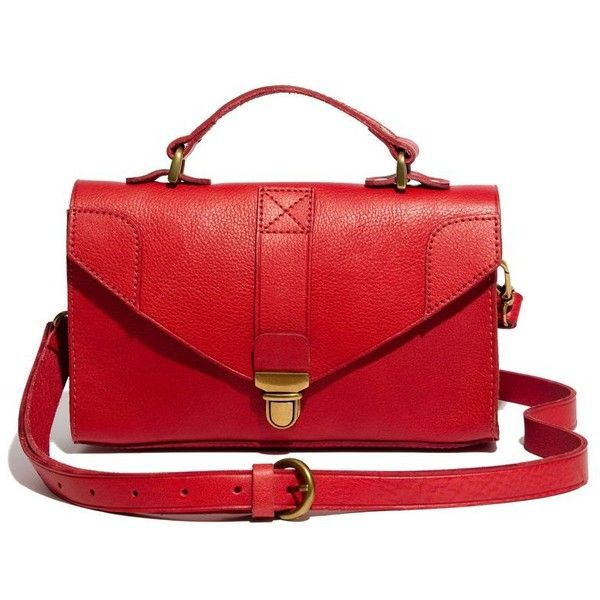 MADEWELL The Lovelock Minibag ($128) ❤ liked on Polyvore featuring bags, handbags, purses, bolsas, accessories, leather strap purse, real leather handbags, madewell, leather handbags and red purse