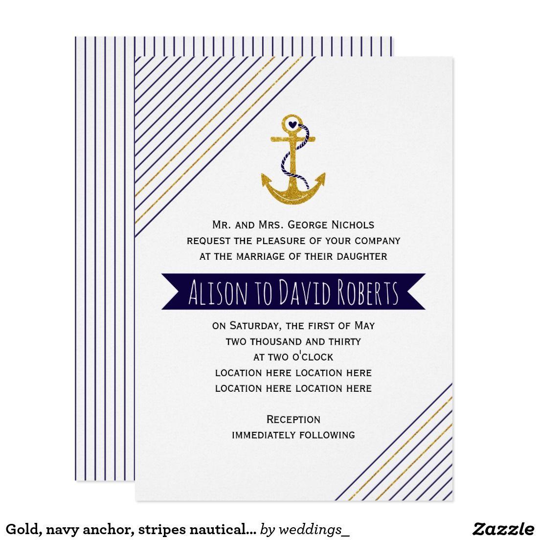 Gold, navy anchor and stripes nautical beach wedding invitation ...