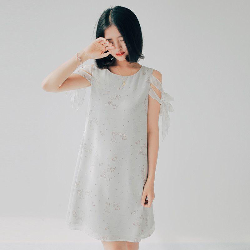 Women's Casual Chiffon Midi Dress Loose Summer Dandelion Print Sleeveless Dress