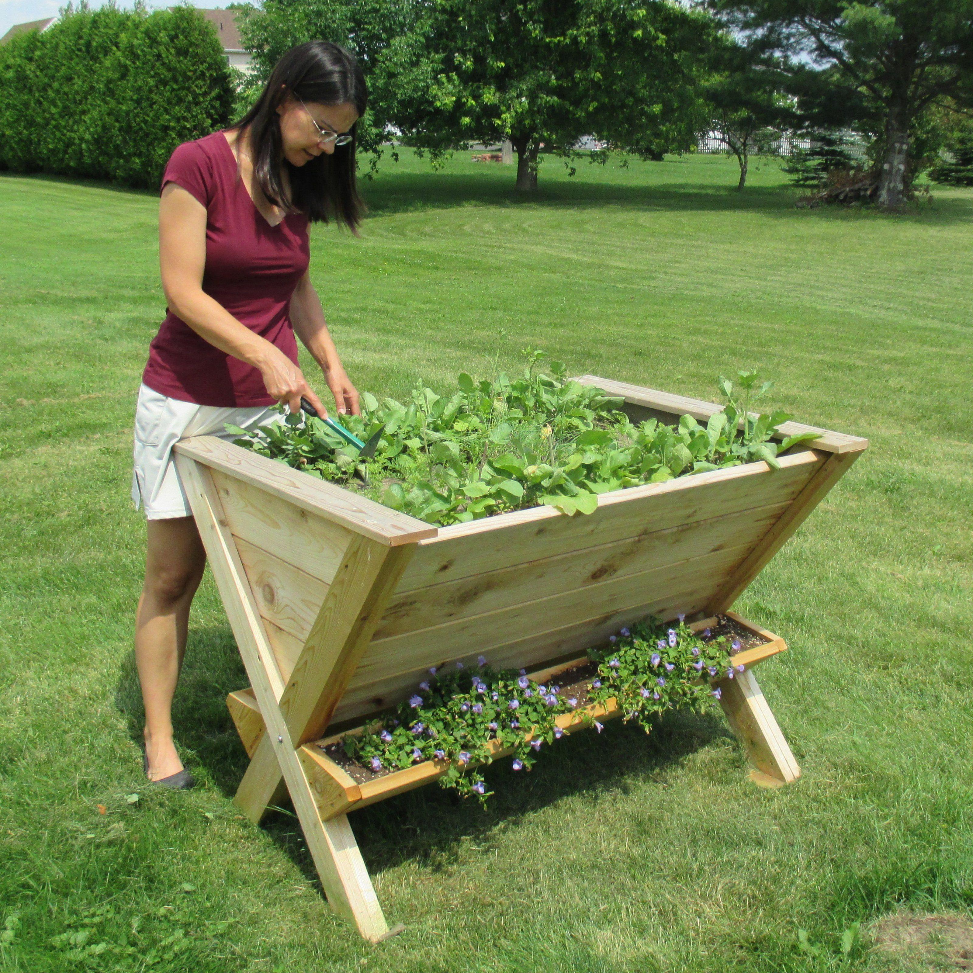 Infinite Cedar The Wedge Table Raised Planter Elevated
