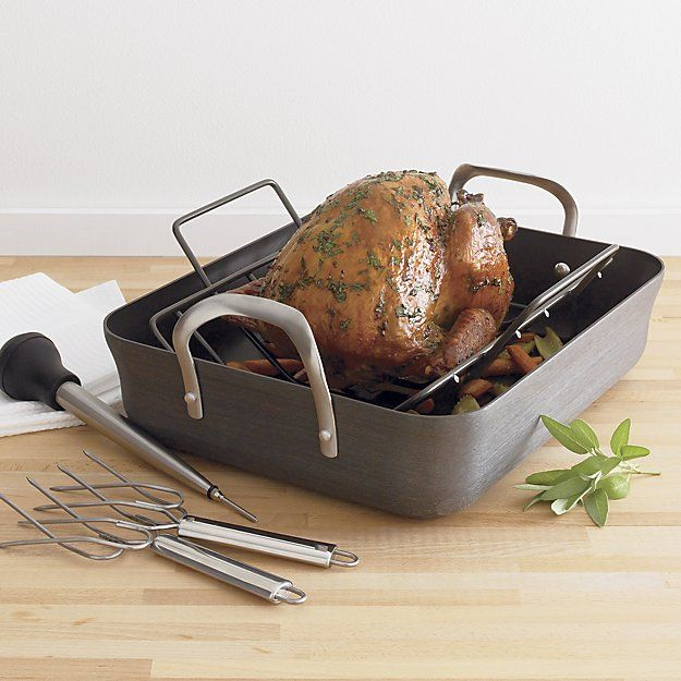 calphalon contemporary a non stick roaster with lifters and baster