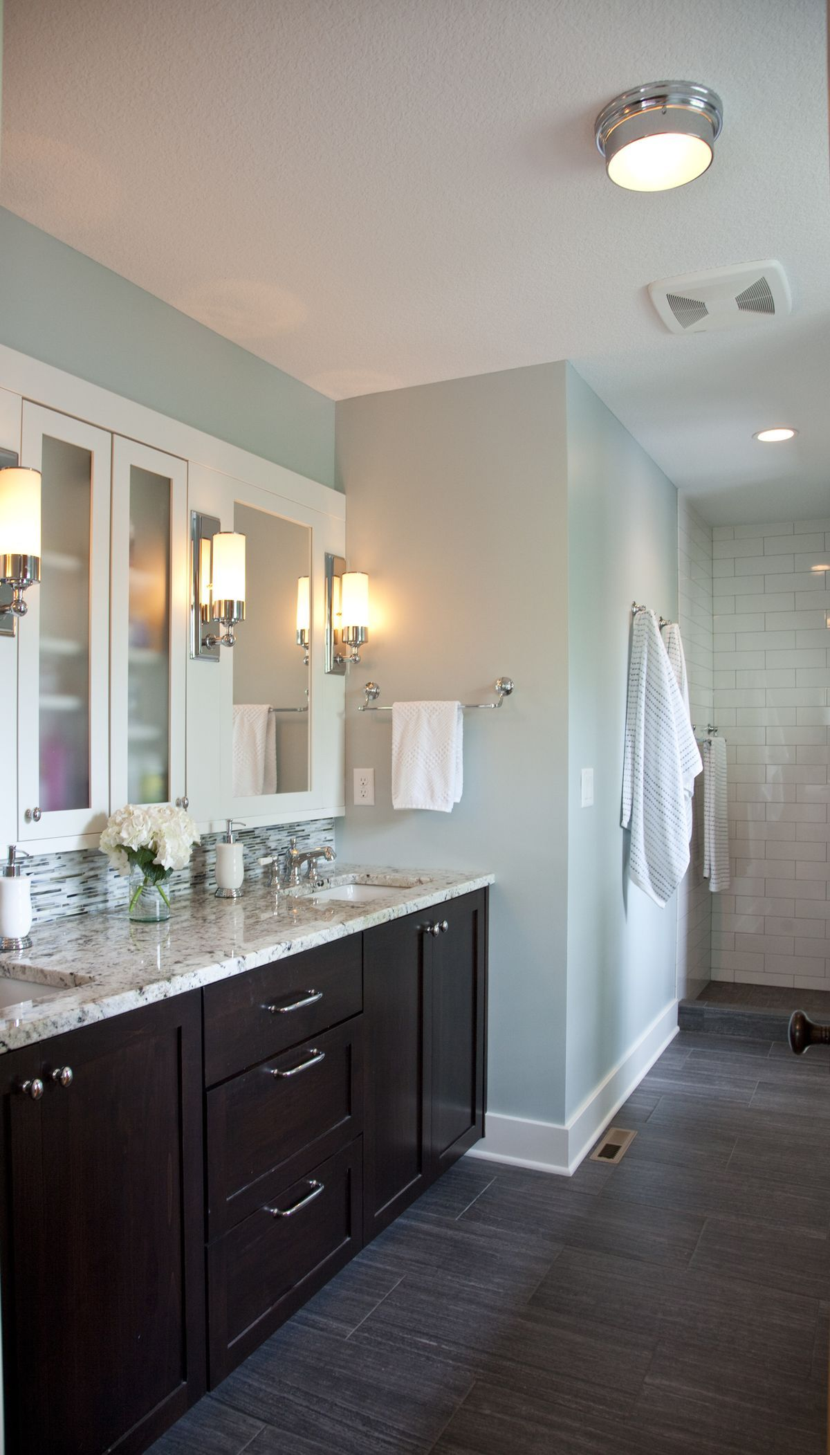 Loving The Blue Bathroom With Dark Wood Floor Bathroom Colors Wood Floor Bathroom Dark Bathrooms