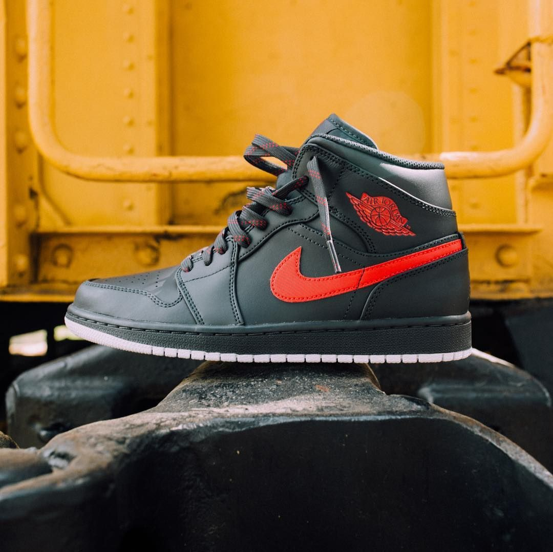 03355876004 Air Jordan 1 Mid (Anthracite/Gym Red/White) - $110 Available at Rock City  Kicks. Visit rockcitykicks.com to see more detailed images!