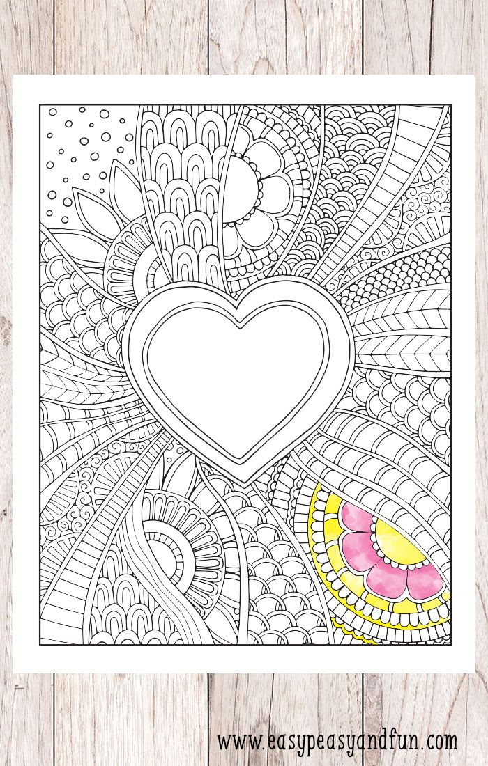 Doodle Heart Coloring Page | Heart coloring pages ...