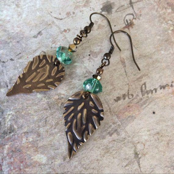 Earrings brass embossed leaf design charms by rubybluejewels