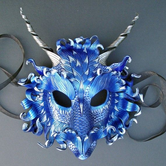Fantastic blue dragon mask - stunning colour