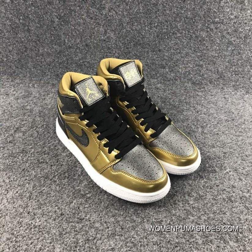 2054ac49fd74c Air Jordan 1 High GS BHM Black Gold Women | Shoes | Air jordans, Air ...