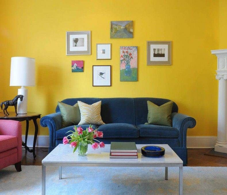 Interior Living Room Yellow Combination Living Room Interior Design Ideas Covered By Yellow Wall W Yellow Living Room Living Room Colors Colourful Living Room